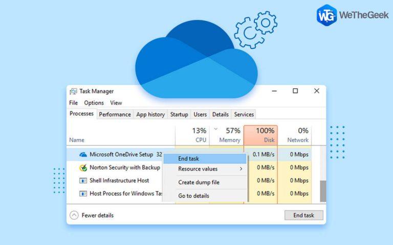 Как исправить и отключить высокую загрузку ЦП OneDrive в Windows 10