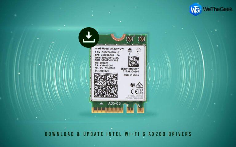 Как загрузить и обновить драйверы Intel Wi-Fi 6 AX200