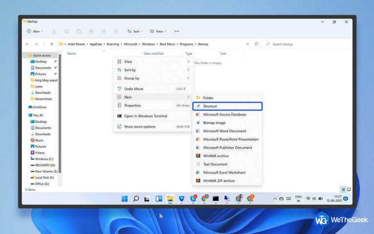 Как получить доступ к папке автозагрузки в Windows 11