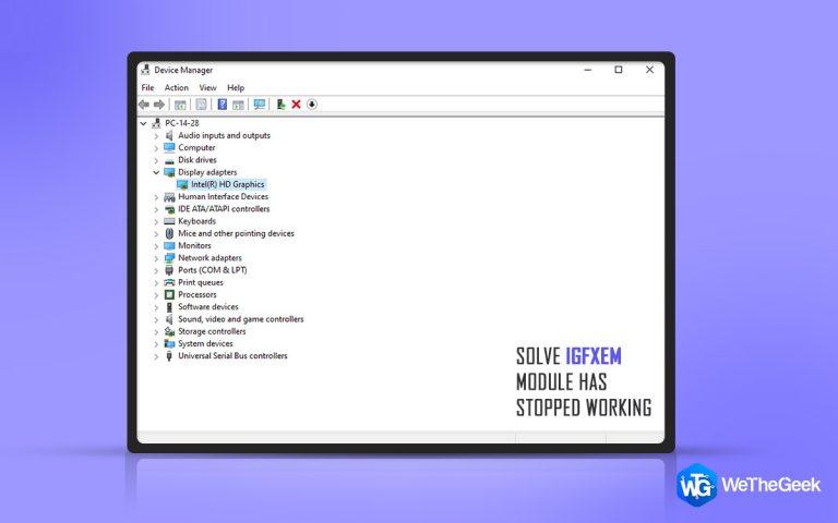 Как решить, что модуль igfxem перестал работать в Windows 10