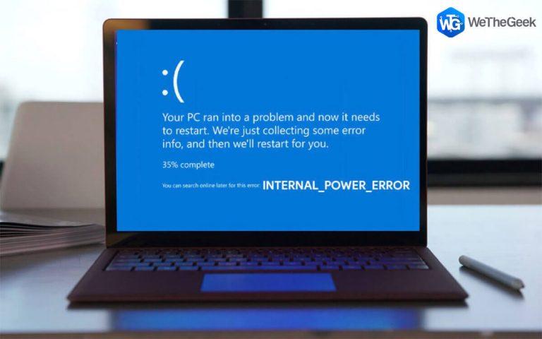 Как исправить внутреннюю ошибку питания в Windows 10