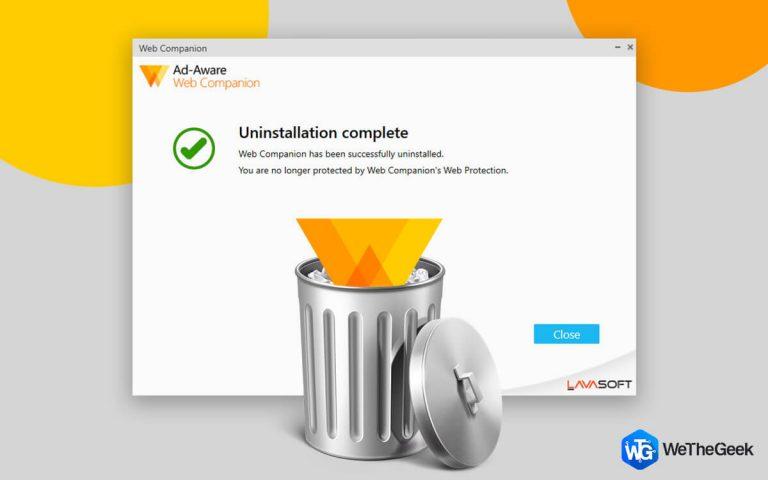 Как удалить приложение Adaware Web Companion из Windows