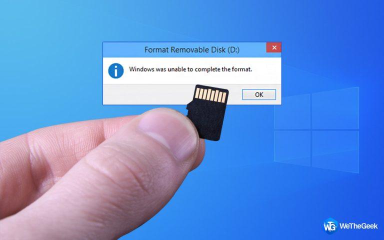 Как исправить Windows не удалось отформатировать SD-карту / USB-накопитель