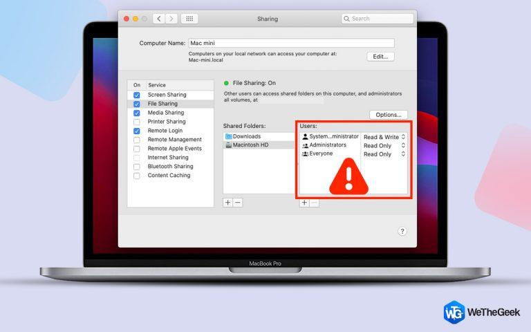Общий доступ к файлам Mac не работает (пользователи Catalina, Mojave или Big Sur)
